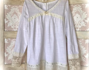 Romantic Cotton N' Laces Poets Tunic Edwardian Style Size Medium/Small