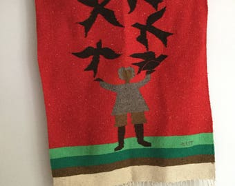 Rare Blackbird Raven Crow Serape Saltillo Red Dhurrie wool wall hanging Tapestry rug Witchcraft Nursery rhyme Home hippie Boho Hipster Decor