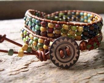 Beaded Wrap Bracelet, Leather, Double Wrap Bracelet - 942