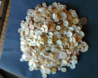 vintage pearl buttons 1 lb. pound all white