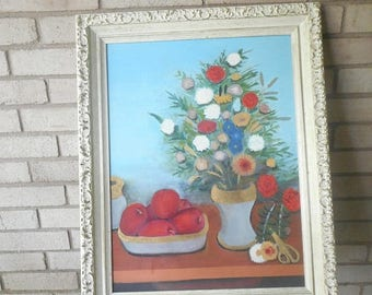 Charming Vintage Original Oil Painting Still Life Flowers and Fruit Amateur Art Signed by Artist Mid Century