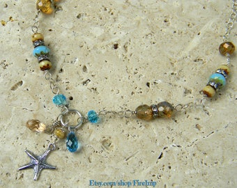 All the Stars in the Sea - Dainty Boho Layering Necklace - Vintage Antique Style Necklace - Blue Starfish Necklace