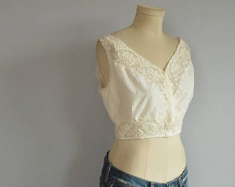 Vintage 20s Bra / 1920s Off White Linen Lace Bra Top