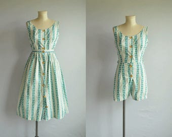 Vintage 1950s Playsuit Dress / 50s Graphic Stripe Romper Shorts Jumpsuit with Matching Skirt