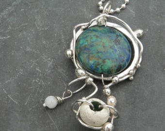 Chrysocolla, Moonstone and Ceramic Ocean Necklace in Sterling Silver
