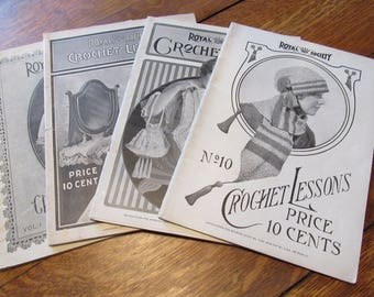 set of four 1916 to 1917 vintage crochet lessons books by royal society