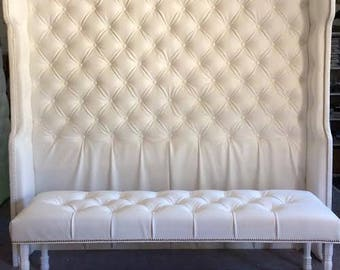 Diamond Tufted Slightly Arched Wingback Headboard Only (King, Extra Tall)