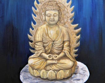 Buddha Oil Painting - Still Life Statue Wall Hanging Deity Hindu Buddhist Artwork Art Print Decor
