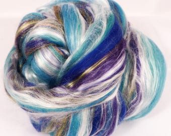 Under the Sea -( 2 oz.)  Custom blended top -Merino/  Seacell / Silk / Rainbow Firestar ( 40/25/25/10 )