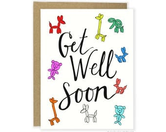 Cute Get Well Soon Card, For Him, For Her, Get Better Soon Card, Feel Better Card, Cute Sympathy Card, Get Well Balloons Sick Card, Recovery