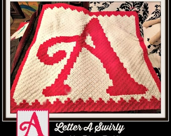 Letter A Swirly Afghan, C2C Graph, Crochet Pattern