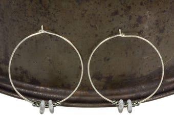 Ethnic Hoops, Silver Wire Hoops, Modern Hoops, Hammered Hoops, Sterling Silver Hoops, Large Silver Hoops, Boho Hoops, Beaded Hoops