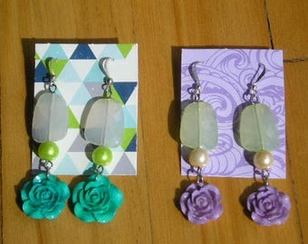 AMÉLIE Earrings 3 Colors To Choose From Purple Ivory Turqoise Pink White Green Resin Flower