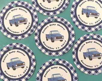 VINTAGE BLUE TRUCK Theme Party Happy Birthday Baby Shower Favor Tags or Stickers 12 {One Dozen} - Party Packs Available