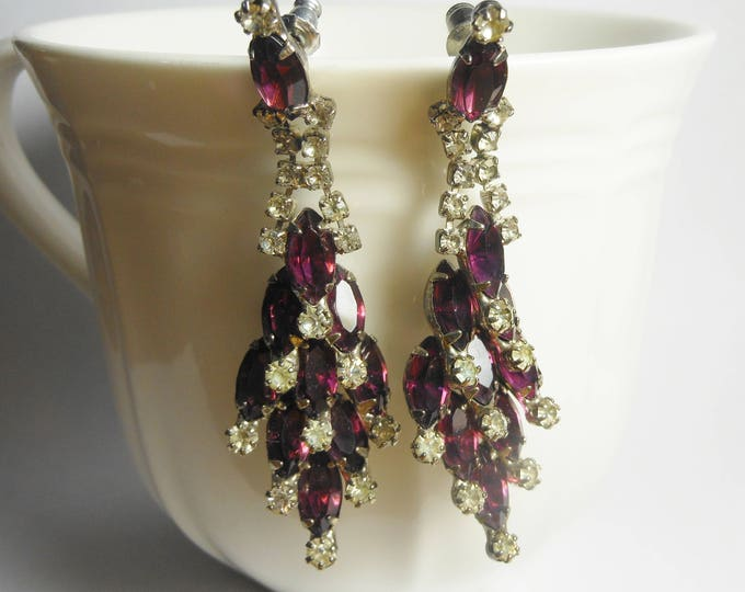 Rhinestone chandelier earrings, pierced earrings, prong set Marquise amethyst , Clear round, dangle swinging earrings