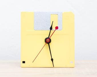 Unique Desk clock - yellow recycled floppy disk clock, ready to ship c8212