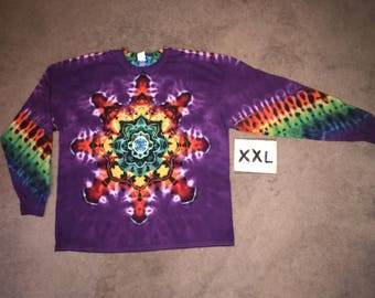 Tie Dye T-Shirt ~ Fire Mandala With Grape/Purple Background ~ i__8261 in Long Sleeve Double Extra Large