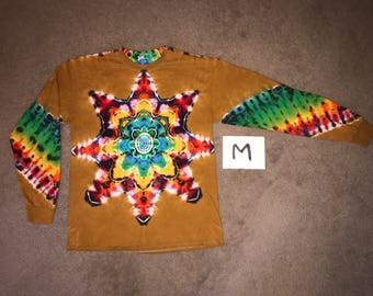 Tie Dye T-Shirt ~ Fire Mandala With Palomino Gold Background ~ i_8268 in Long Sleeve Adult Medium