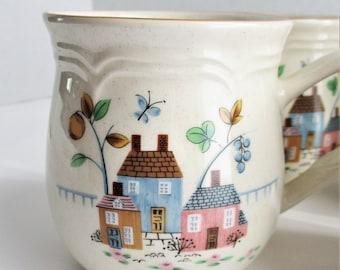 Vintage Stoneware Mugs Set of 4 Heartland  International China Company