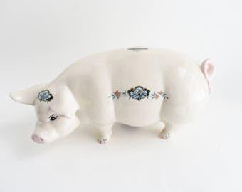 Vintage Piggy Bank Large Ceramic Pig Cream Pale Pink Blue Floral Decals