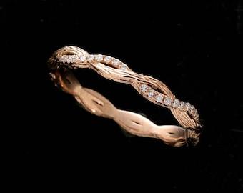 Twisted Diamond Wedding Ring, Braided Half Way 14k Rose Band, Intertwining Hand Carved Wedding Ring, Delicate Twist Wedding Ring 2.6mm