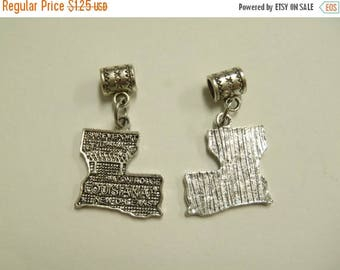 2 Beads - Louisiana State Map Dangle Silver European Bead Charm T0026