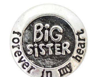 1 PC - 18MM Big Sister Forever in my Heart Silver Snap Candy Charm kb6915 CC2032