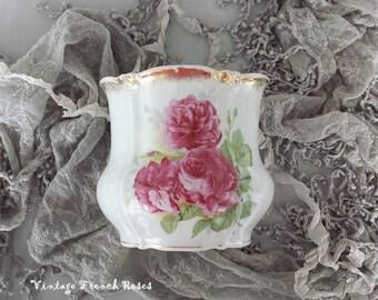 "Biscuit Jar Pink Roses Vintage Flower Vase 5""H Kitchen Office Bath Nursery Storage Romantic Shabby Chic Cottage French Farmhouse Style Decor"