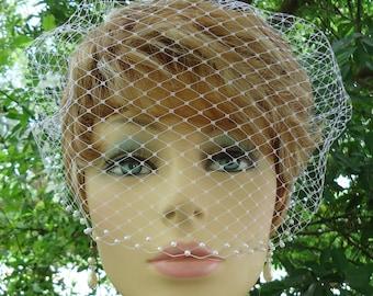 Birdcage Veil, Pearl Accent Bandeau, Birdcage Veil, Wedding Veil, Bridal Veils, REX1004