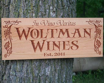 Wine Sign, Custom Bar Signs, Guy Gift, Custom Pub Sign, Benchmark Signs, Pub Sign, Carved Wood Sign, Benchmark Signs Cherry GP2
