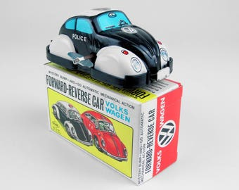 Vintage Tin Wind-up Volkswagen Beetle Forward-Reverse Car #2, Japan, 1960s NOS
