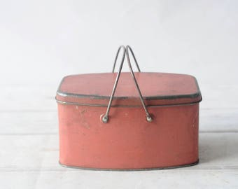 Vintage Red/Orange Lunch Pail With Swing Handles Lunchbox Metal School Lunch Pail