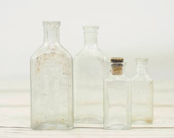 Vintage Antique Glass Bottle Collection Four Bottles, Clear
