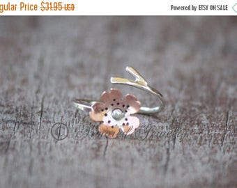 SALE SALE SALE Sakura Ring - Japanese Cherry Blossom Branch Adjustable Ring - Sterling Silver and Copper Cherry Blossom Ring