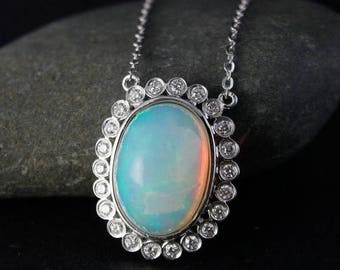 FLASH SALE White Opal Diamond Halo Pendant Necklace – 14K White Gold - Art Deco Pendant