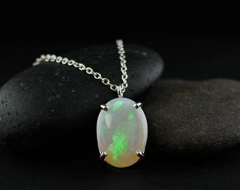 FLASH SALE Silver Colourful Australian Opal Necklace - Green Opal Necklace - Vibrant Opal Pendant