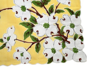 1950's yellow and white linen dogwood print handkerchief