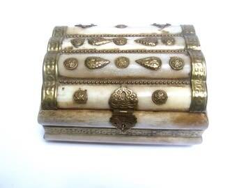 Exotic Caved Antler Brass Metal Trinket Box