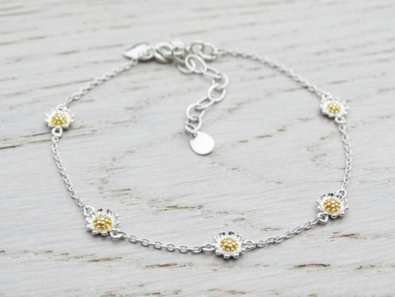 Silver Daisy Chain Bracelet - Sterling Silver - Gold Details