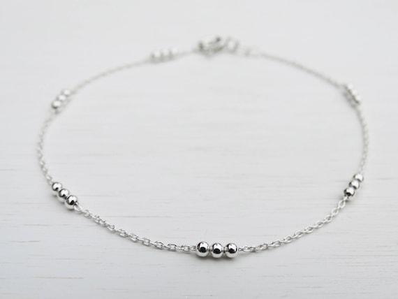 Dainty Silver Beads Bracelet, Sterling Silver