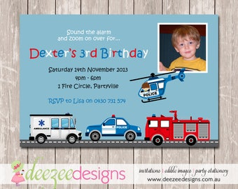 Fire Rescue Police Ambulance Birthday Invitation with Photo - YOU PRINT - BD056B
