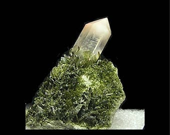 Quartz White Cap Rock Crystal with Green Epidote on Rock Matrix Himalayan Mineral Specimen from an estate geo collection OOAK