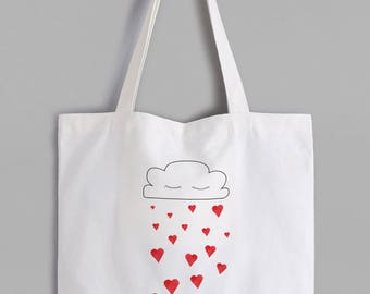 Romantic Hearts and cloud tote shopping bag