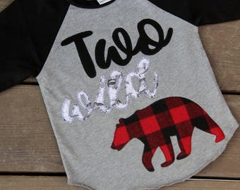 Two Wild Lumberjack Birthday Shirt, Two Wild Raglan, Bear Birthday Shirt, Party Animal Birthday Shirt, Ready to Ship, Buffalo Check Shirt