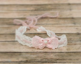 Newborn Baby Lace Blush Pink and White Baby Tieback Headband,  Photo Prop, Girl, Sitter
