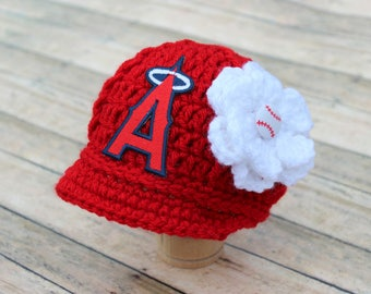 Baby Girl L A Los Angeles Angels - Hat - Knit / Crochet - Baby Girl Gift / Newborn - Photo Photography Prop - Baseball