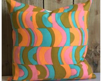 Vintage 60s Bernard Wardle Vanessa Fabric Cushion Cover Orange Pink