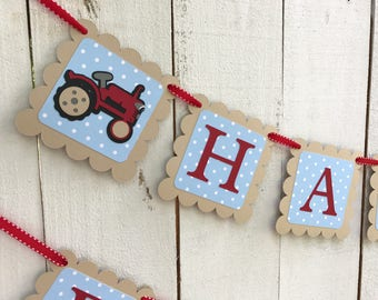 Vintage Tractor Birthday Banner/Farm Birthday Banner/ Tractor garland / Blue polka dot/ red/Party Package