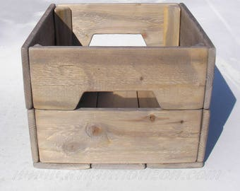 20 Small Reclaimed Wood Crate Primitive Rustic Wedding Centerpiece Box Farmhouse Decor Custom Finish Wooden Bin Natural Lot