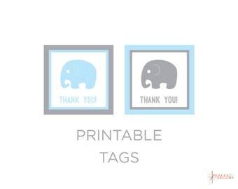 Printable Tags - Elephant Baby Shower - Elephant Tags - Elephant Baby Shower Theme - Boy Baby Shower - Party Favor Tags - Bag Tags